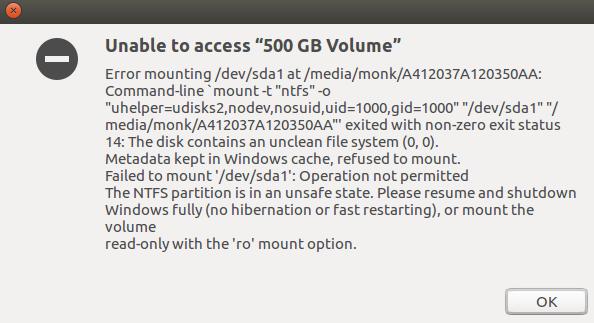 "Ubuntu与Win10双系统磁盘挂载出问题Unable to access ""500 GB Volume""-机器在学习"